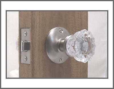 Affordable Fluted Crystal Glass Passage DoorKnob Set-fit Any Door Brushed Nickel