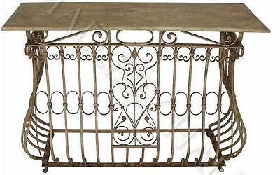 Ornate Scrolled Wrought Iron Base Console Table
