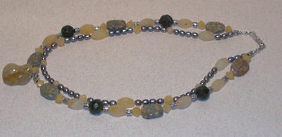 2 Strand Yellow & Gray Citrine, Calcite Necklace