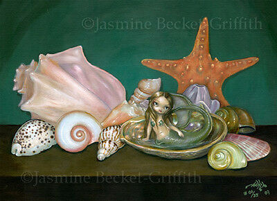 Still Life with a Mermaid fairy shells art CANVAS PRINT