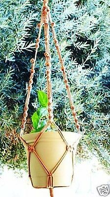 Macrame Plant Hanger 40in BEADED Button Knot * Cinnamon *