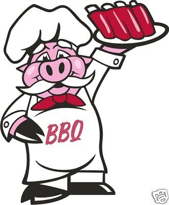 "BBQ Barbecue Pork Pig  Decal 14"" Restaurant Food Truck Sign Vinyl Sticker"