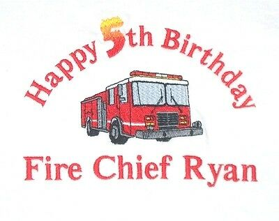 Personalized FIRE TRUCK Fire Engine Fireman Fire Chief Name or Birthday T Shirt