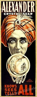"""Alexander """"Knows All Sees All"""" Fortune Teller Classic 1910 Magic Poster 9x24"""