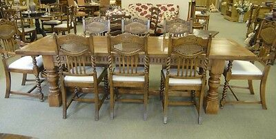 8 English William Mary Rustic Dining Chairs Barley Twis