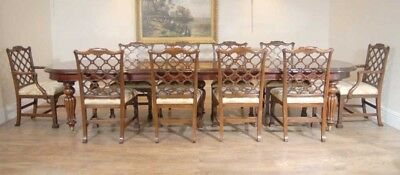English Victorian Dining Table Set 10 Chippendale Chair