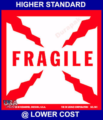 500ct 4x4 Fragile w/ Lightening Shipping Adhesive Label Handle with Care Packing