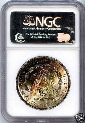1884 Silver Morgan Dollar MS 63 NGC Rainbow Tone Rev.