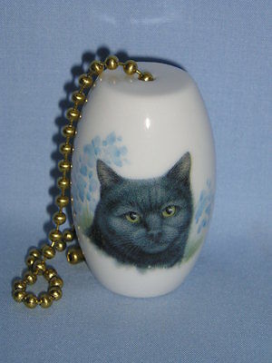 Black Cat with Blue Flowers Fan & Light Pull Porcelain 2 Inch 6 In Chain-L