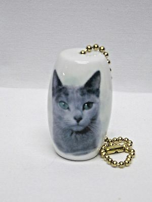 Grey/Russian Blue Cat Fan and Light Pull Porcelain 2 In long 6 In chain Decal-H