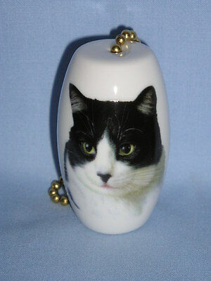 Black & White Cat Fan & Light Pull 2 In Porcelain Fired Head Decal 6 In Chain-H