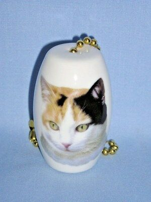 Calico Cat Fan and Light Pull Porcelain Handmade 2 inch long 6 inch chain-H