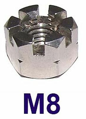 M8 Stainless Castle Nuts 8mm (Slotted Nuts, Flower Nuts, Castleated Nuts) x2