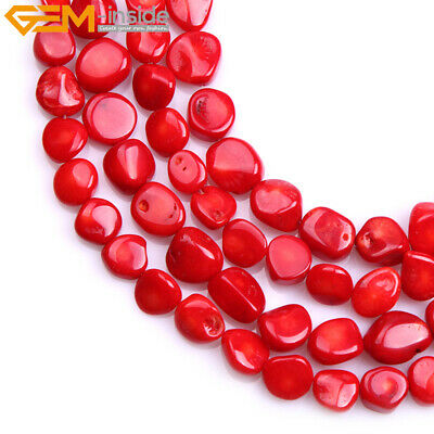 """10X10mm Freeform Red Coral Gemstone Beads Strand 15"""" Jewelry Coral Dyed Color"""