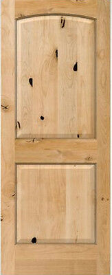 2 Panel Arch Top Knotty Alder Raised Solid Core Interior Wood Doors 6'8  Prehung