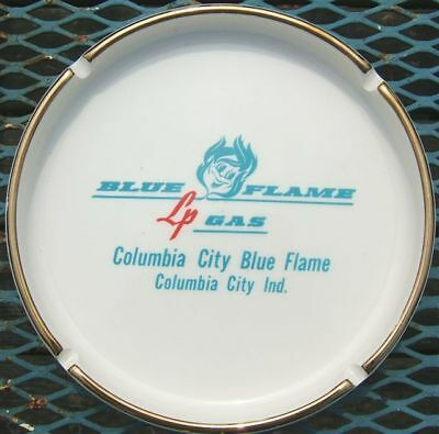 VINTAGE BLUE FLAME LP GAS ADVERTISING ASHTRAY - 1950's!
