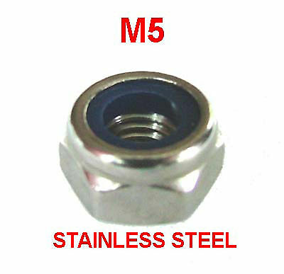 M5 Stainless Steel Nyloc Nuts - 5mm Stainless Nylon Insert Nylock Nuts x25