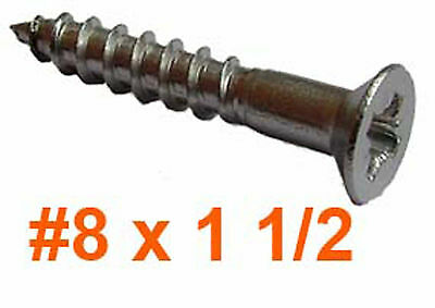 """8g x 1 1/2"""" Stainless Pozi Countersunk (4mm x 40mm) Wood Screws x100"""