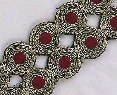 Embroidered, Iron-On Trim. 3 Yards. Gold & Burgundy