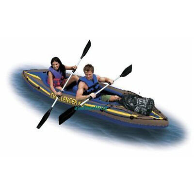 K2 Inflatable 2 Person Canoe Kayak Boat - Complete Kayaks Kit Paddles & pump