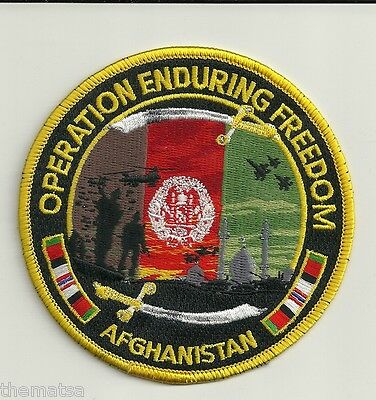 "Operation Enduring Freedom Military Afghanistan Embroidered 4""  Patch"