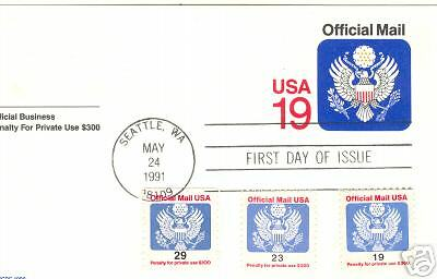 UZ5 19c OFFICIAL P.Cd. same day COMBO FDC c O145,47,48