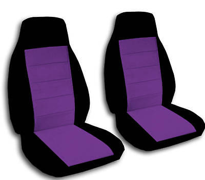 2 Front Black And Purple Seat Covers Universal Size