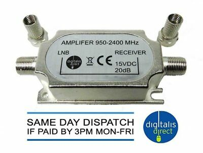 In-Line Signal Amplifier Sky Satellite TV Booster + 2 F Connectors Boosting NEW