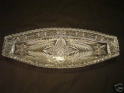 AMERICAN BRILLIANT PERIOD (ABP)  CUT GLASS CELERY DISH / TRAY, c. 1900