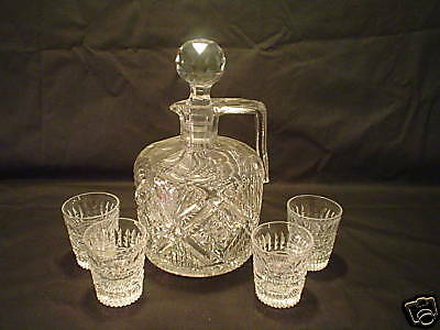 Rare 5-Pc. American Brilliant Period (Abp) Cut Glass Whiskey Jug & 4 Liqueurs