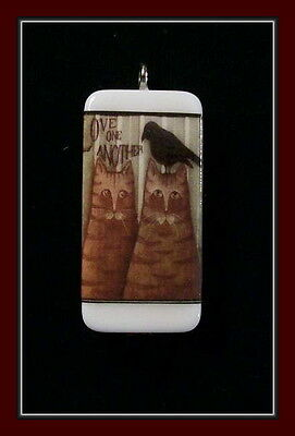 Love One Another - Crow And Cat Domino Pendant