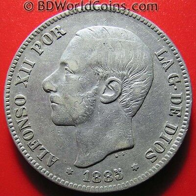 Spain 1885 (86) Ms-M 5 Pesetas Silver Better Date Alfonso Xii Spanish World Coin