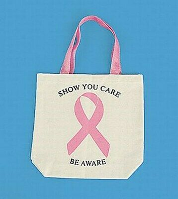(12) Pink Ribbon Breast Cancer Awareness Canvas Tote Bags ~ (1 dozen)
