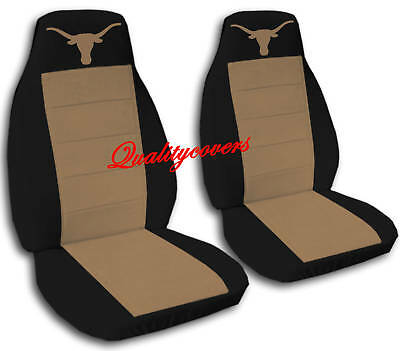 2 Front Black And Brown Texas Longhorn Seat Covers Universal Size