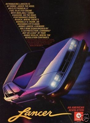 1985 Dodge Lancer Es * Original Vintage Ad *