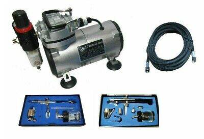 2 Double Action Airbrushes With Air Brush Compressor Airbrush Compressor Kit
