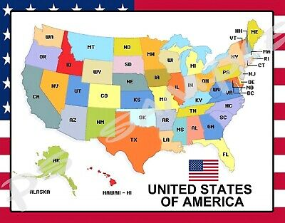 UNITED STATES MAP - Travel Souvenir Fridge MAGNET