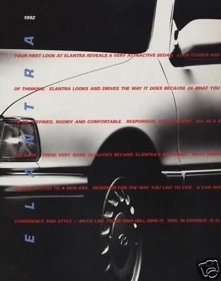 1992 Hyundai Elantra Original Sales Brochure Book