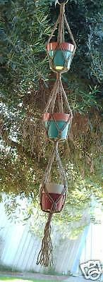 MACRAME PLANT HANGER 46in for 3 POTS - SPECIAL-3-ply JUTE!