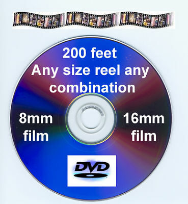200 ft. SILENT FILM 8mm 16mm to DVD VIDEO or AVI FILES