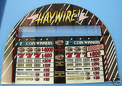 HAYWIRE ~ IGT ARCHED SLOT MACHINE SCREENED GLASS