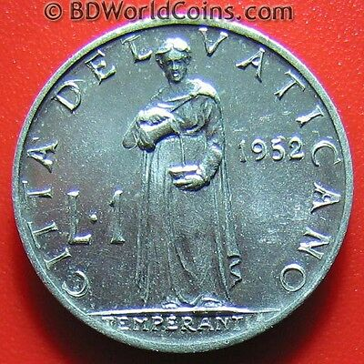 VATICAN CITY 1952 ONE 1 LIRA POPE AU+ LUSTER! PIUS XII WORLD COIN ALUMINUM 17mm