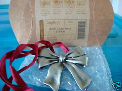 Longaberger 2008 Christmas Bow Tie-On or Ornament