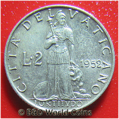 VATICAN CITY 1952 2 LIRE POPE PIUS XII 18.4mm ALUMINUM COLLECTABLE WORLD COIN