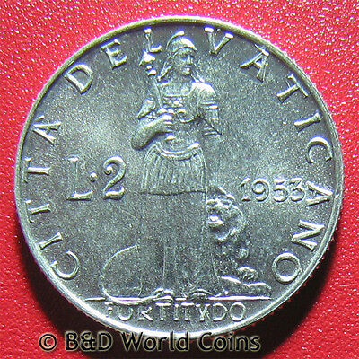 1953 VATICAN CITY 2 LIRE POPE PIUS XII COLLECTABLE WORLD COIN ALUMINUM 18.4mm