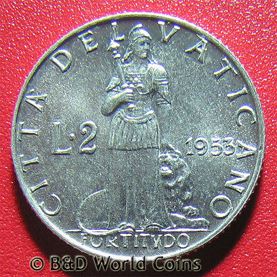 VATICAN CITY 1953 2 LIRE POPE PIUS XII 18.4mm ALUMINUN COLLECTABLE WORLD COIN