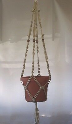 Macrame Plant Hanger 40 in BEADED Button Knot Sand