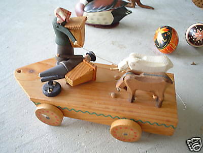 Unique Vintage Germany Wood Puill Cart People Cows LOOK