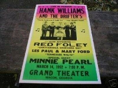 Hank Williams Concert Poster Print