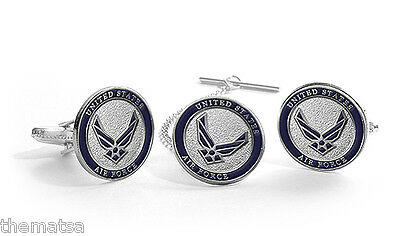 Usaf Air Force Tie Clip & Cuff Link Cufflinks Boxed Set
